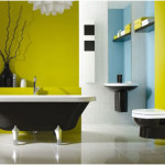 Black And White Bathrooms Design with Green Wall 150x150 Black And White Bathrooms Options