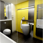 Black And White Bathrooms Design with Yellow Wall 150x150 Black And White Bathrooms Options