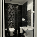 Black And White Bathrooms with Pattern Wallpaper 150x150 Black And White Bathrooms Options
