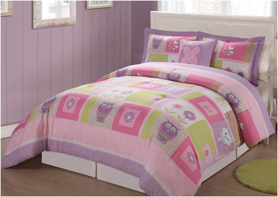 Girl twin bedding set with cute owl and flowers motif for Interior design bed sheets