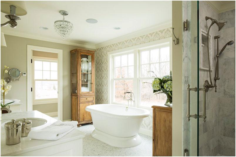 Modern farmhouse master bathroom interior design ideas for Master bathroom farmhouse