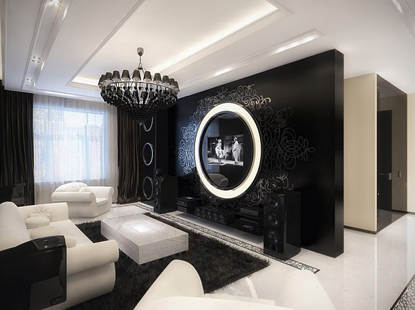Modern glamour interior design living room interior for Glam modern living room