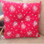 Red Cotton Buttoned Velvet Cushion