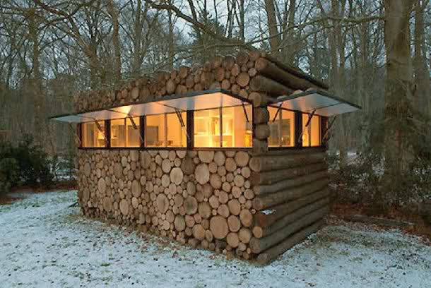 Log pile deer blind windows interior design ideas for Inside deer blind ideas