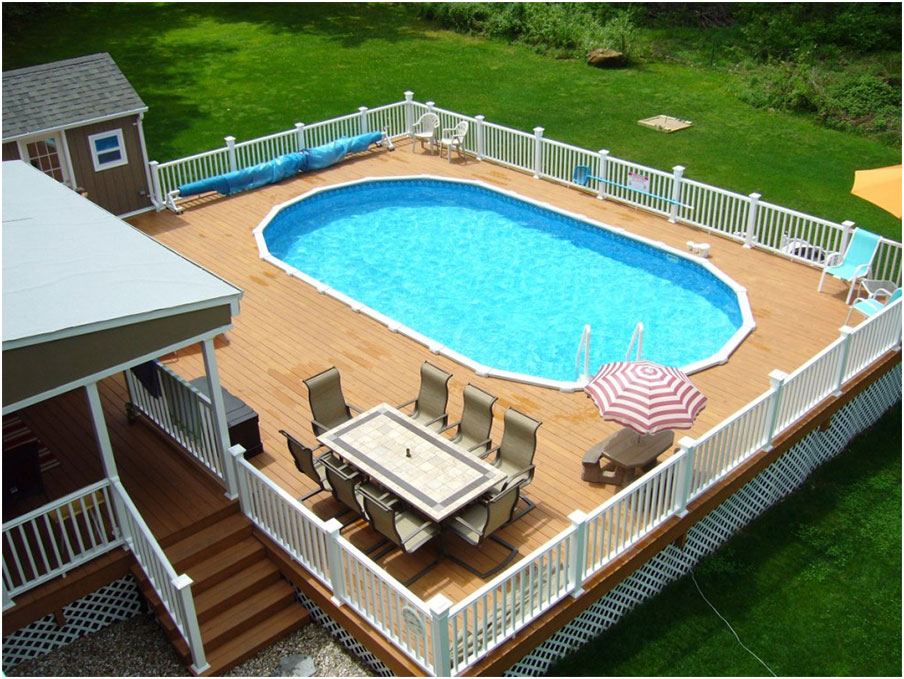 Beautiful deck designs around above ground pool interior for Swimming pool patio designs