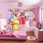 Minimalis Girls Bedroom Decorating Ideas with Disney Princess Wallpaper 150x150 Get The Best Ideas for Princess Girls Bedroom Decorating