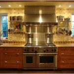 Stainless Steel Backsplash Design With Warming Shelf 150x150 Perfect example of Stainless Steel Backsplashes Decoration