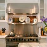 Stainless Steel Kitchen Backsplash Design With Shelf