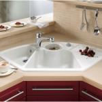 White Ceramic Corner Kitchen Sink Design