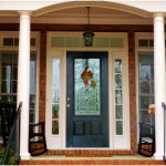 Black Single Wooden Front Door With Half Glass 150x150 Wooden Front Doors Ideas
