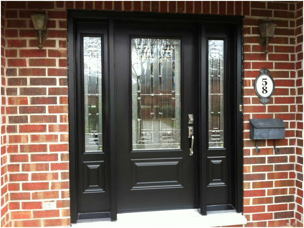 black front door with sidelights