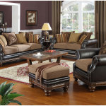 Brown Wall Theme of Living Room With Brown Leather Sofa And Wooden Table 150x150 The Brown Interiors Drawing Room Idea