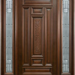 Brown Wooden Front Door Ideas With Mirror