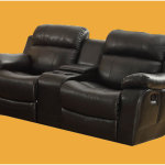 Double Glider Reclining Loveseat With Center Console in Black Leather 150x150 Choosing Long Lasting Double Recliner Chair
