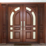 Mahogany Wood Double Front Doors And Geometric Shap 150x150 Wooden Front Doors Ideas