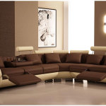 Modern Brown Leather Sofa Designs For Living Room with Bown Paint Wall