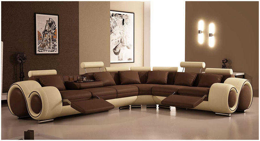 Modern Brown Leather Sofa Designs For Living Room with Bown Paint Wall The Brown Interiors Drawing Room Idea
