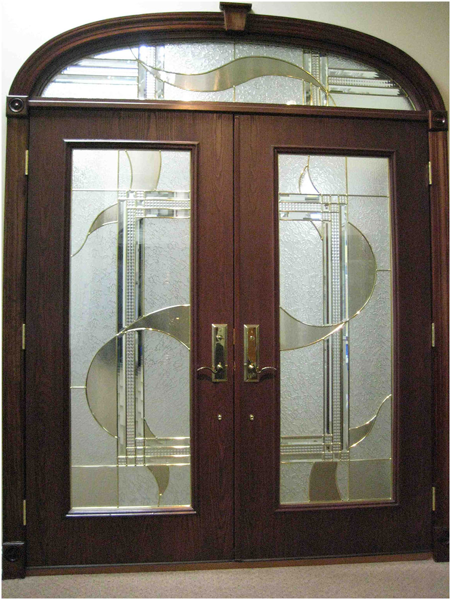 Modern double front door design with glass interior for Front door design