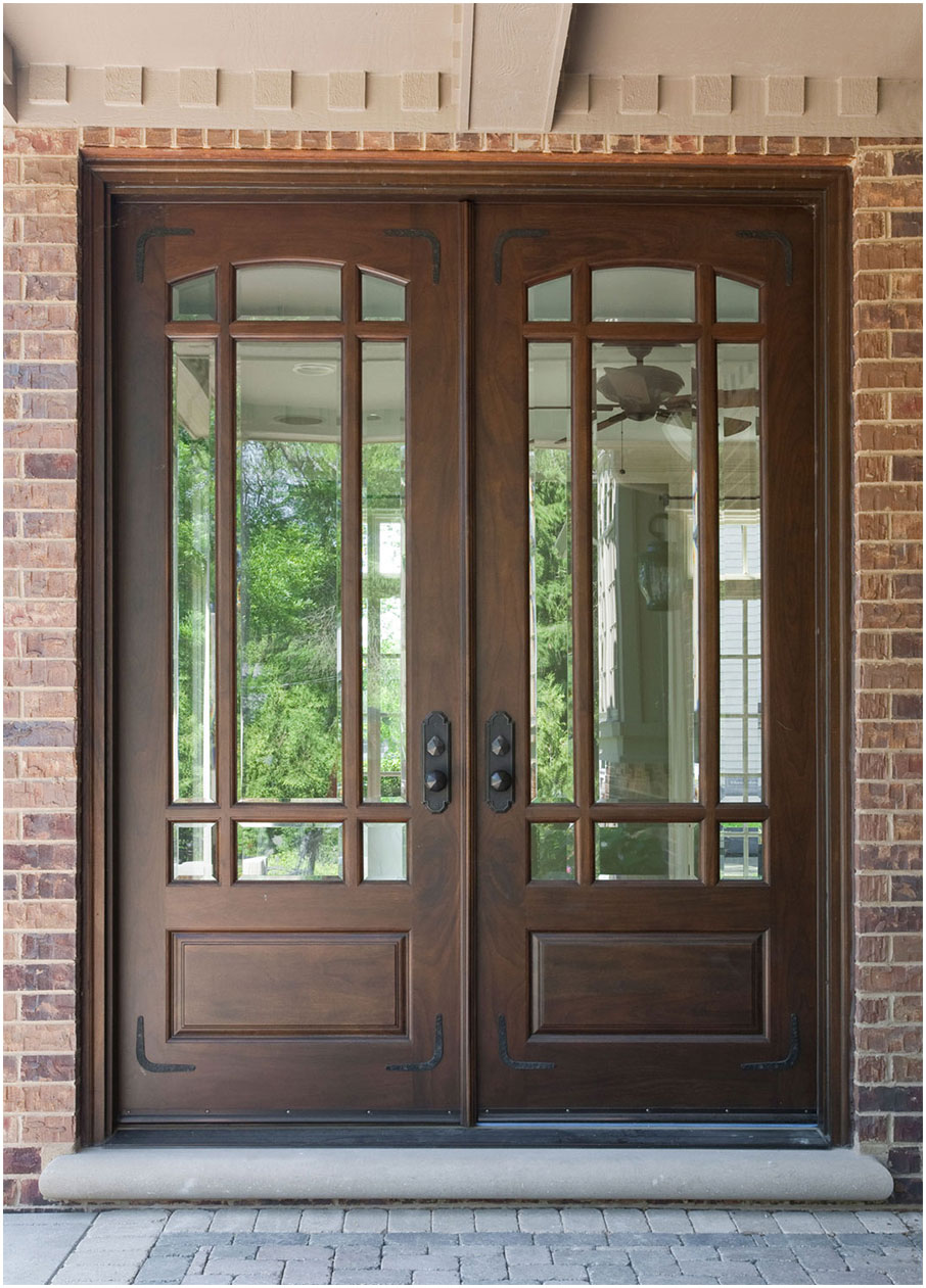 Wood front doors ideas with stained glass interior for Front door with top window