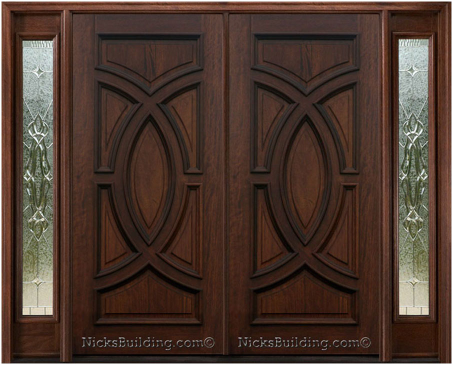 Wood front double doors with sidelights interior design for Simple wooden front door designs