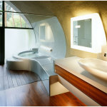 Futuristic Japan Bathroom Design With Natural Environment