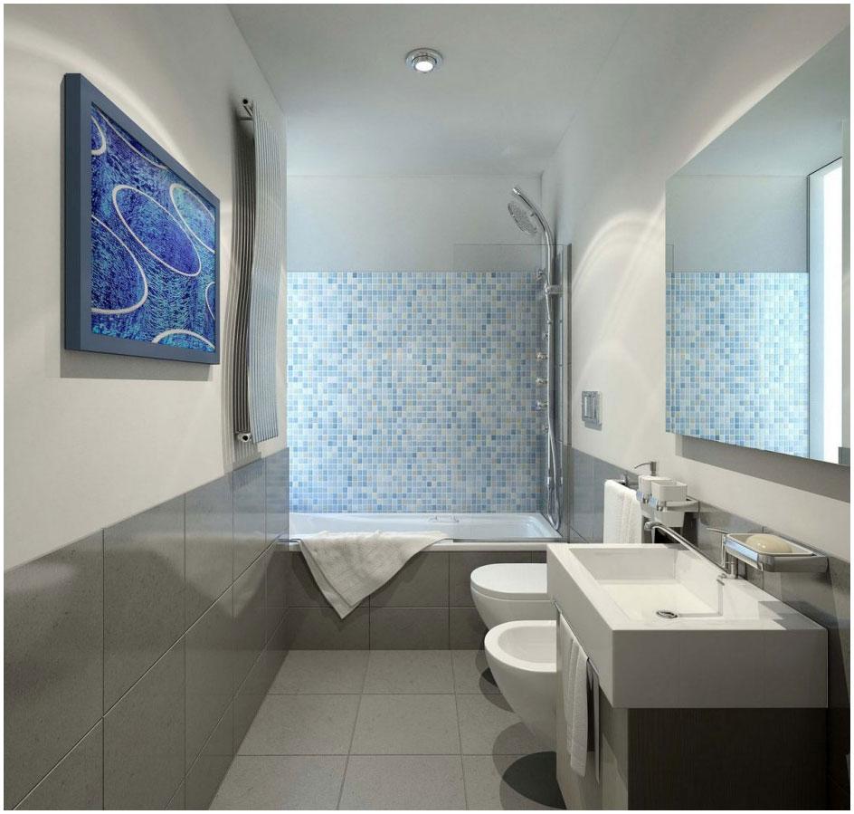Futuristic Small Bathroom Design With Cozy Alcove Bathtub
