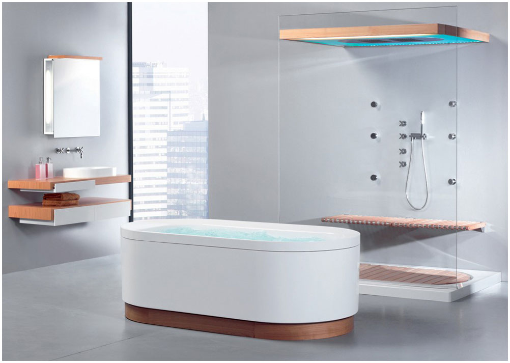 Minimalist Futuristic Bathroom Design with Comfortable Bathtub