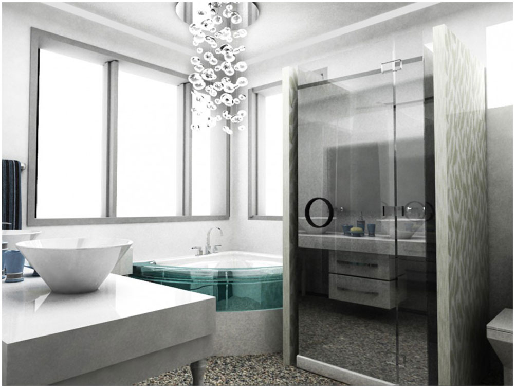 Modern Bathroom Design With Futuristic Corner Jacuzzi