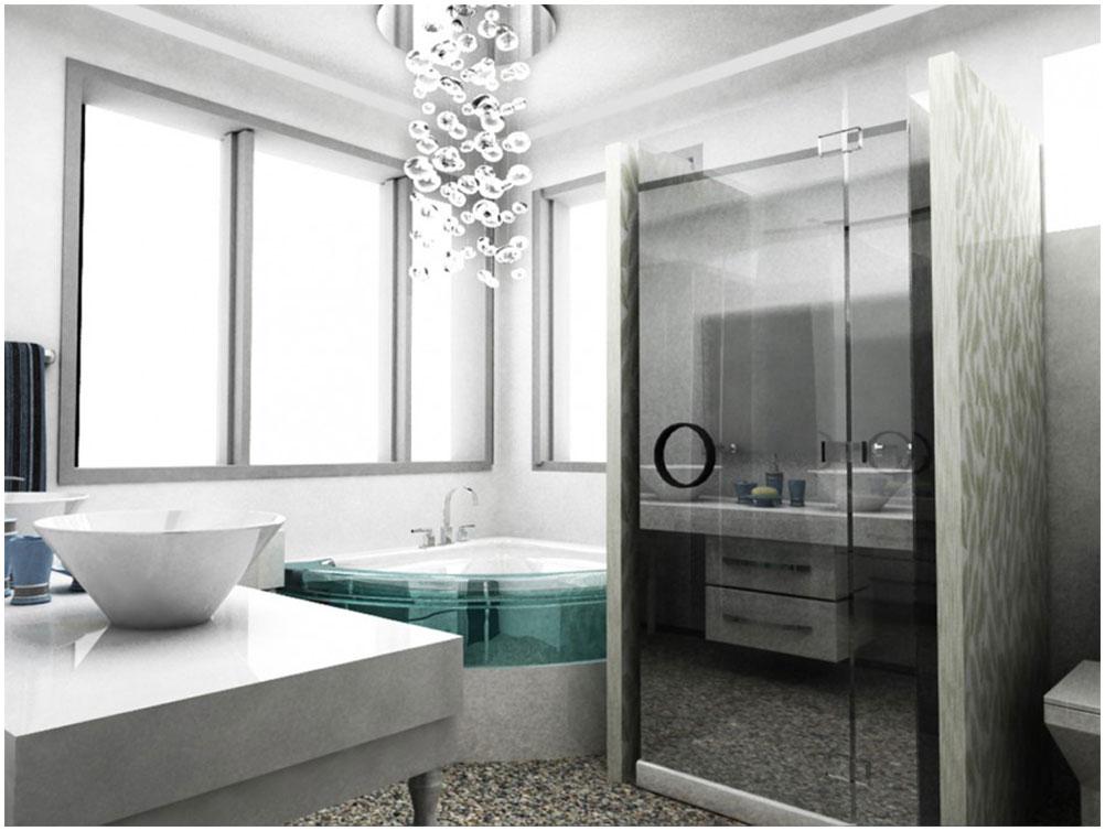 Modern bathroom design with futuristic corner jacuzzi for Jacuzzi bathroom designs