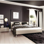 Modern Bedroom Arrangement Ideas with Brown Wall Paint Color
