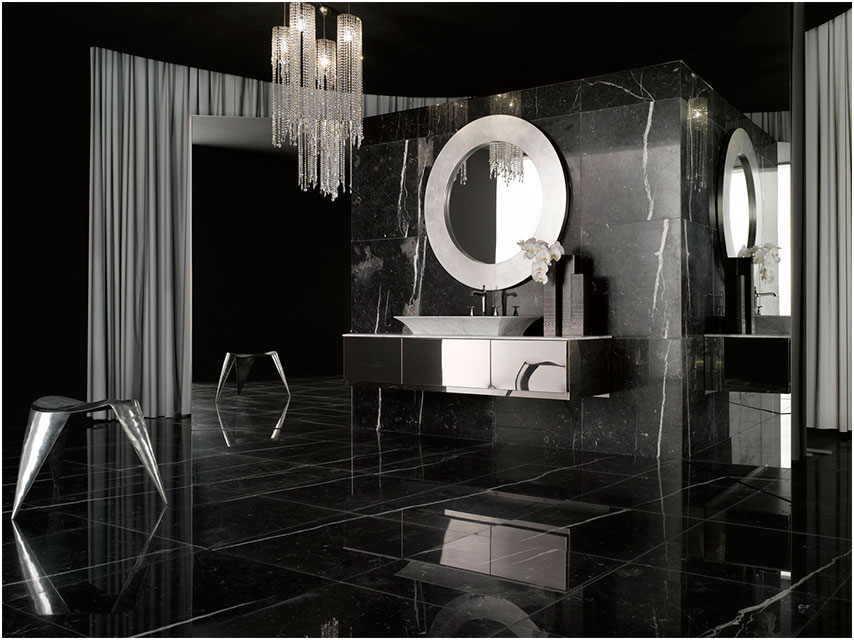Black And White Bathrooms Design with Black Tile