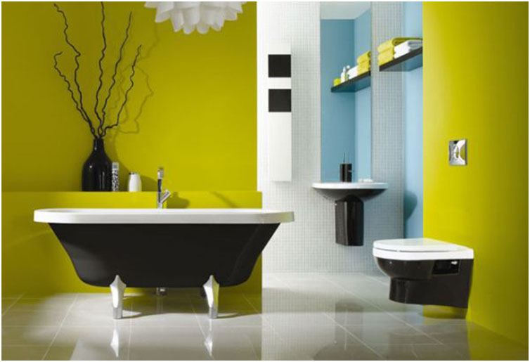 Black And White Bathrooms Design with Green Wall
