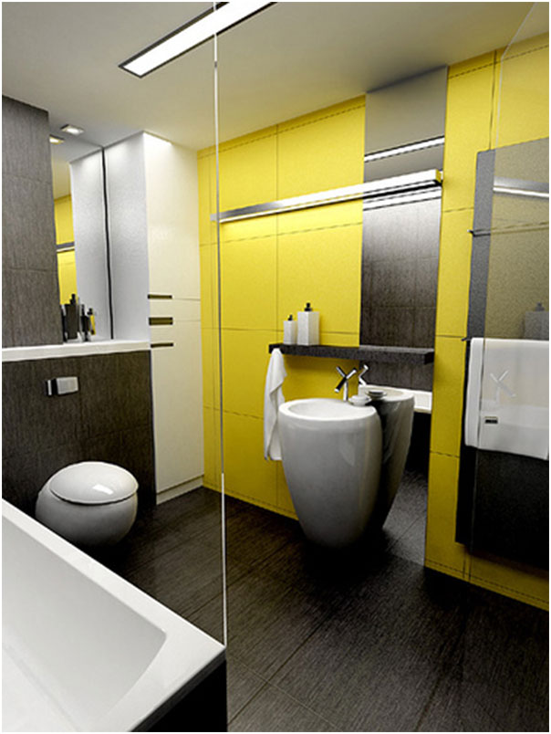Black And White Bathrooms Design with Yellow Wall