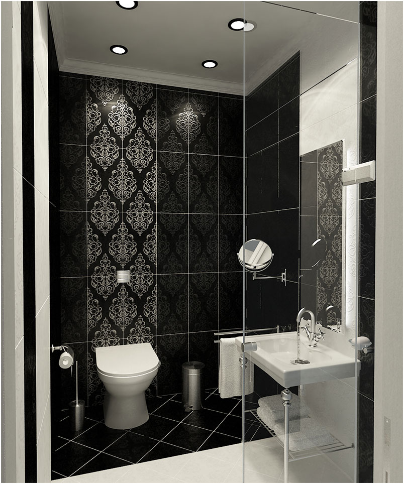 Black And White Bathrooms with Pattern Wallpaper