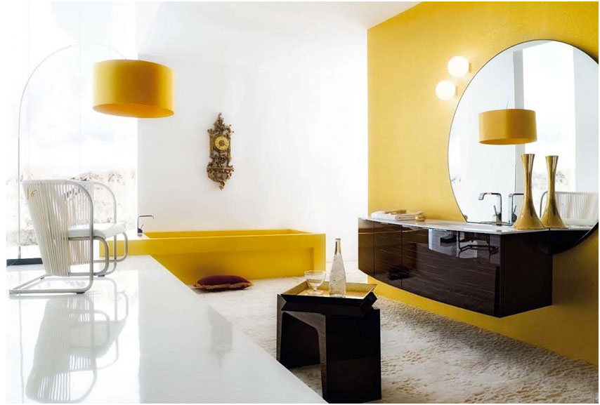 Black and White Bathroom with Yellow Accents