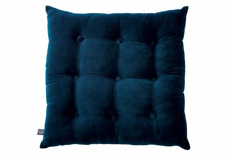 Blue Buttoned Velvet Box Cushion