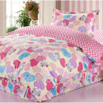 Cute Bear and Heart Motif Girls Twin Bedding Sets