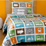 Girls Twin Bedding Set With Vehicles Motif