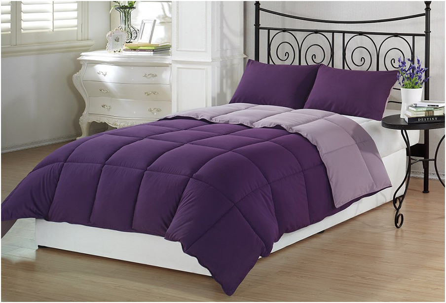Girls Twin Bedding Sets With Purple Pillows And White Mattress