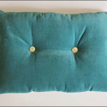 Green Buttoned Velvet Cushion Teal