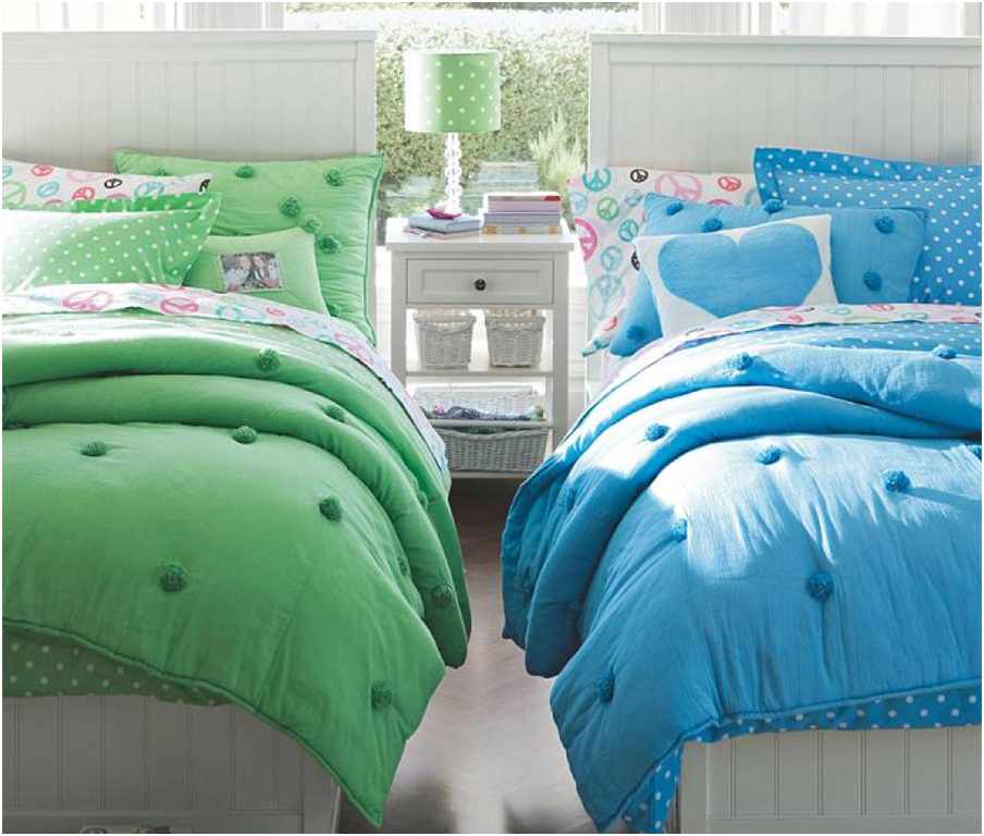 Green and Blue Girls Twin Bedding Sets Motif