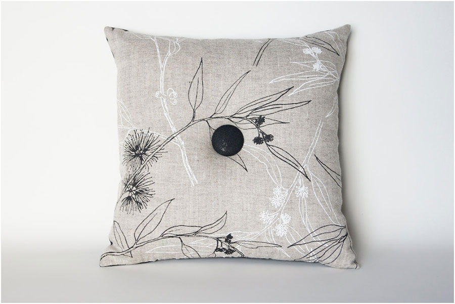 Grey Organic Cotton Buttoned Velvet Cushion