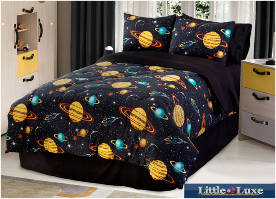Kids Comforter Sets With Galaxy Glow In The Dark Motif