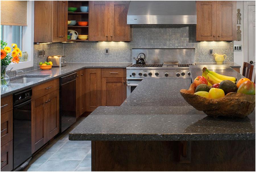 Kitchen Gray Stone Counters Design Ideas