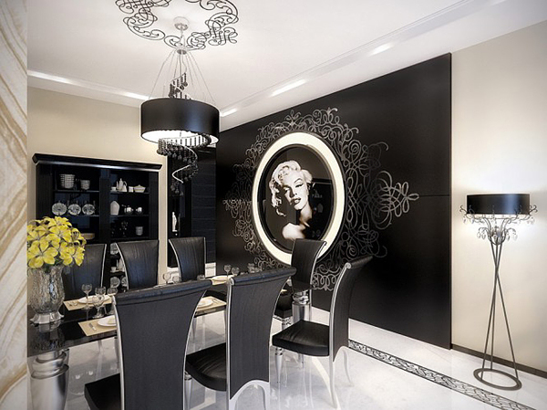 Modern Glamour Interior Design for Dining Room