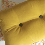 Mustard Brown Buttoned Velvet Cushion