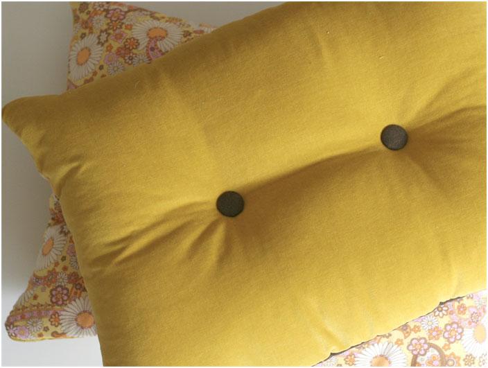 Mustard Brown Buttoned Velvet Cushion