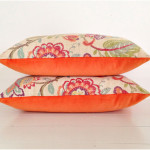 Orange Spring Bloom Buttoned Velvet Cushion