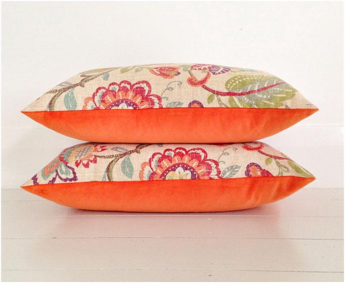 Orange Spring Bloom Buttoned Velvet Cushion