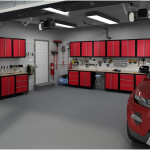 Red Metal Garage Storage Cabinets Design